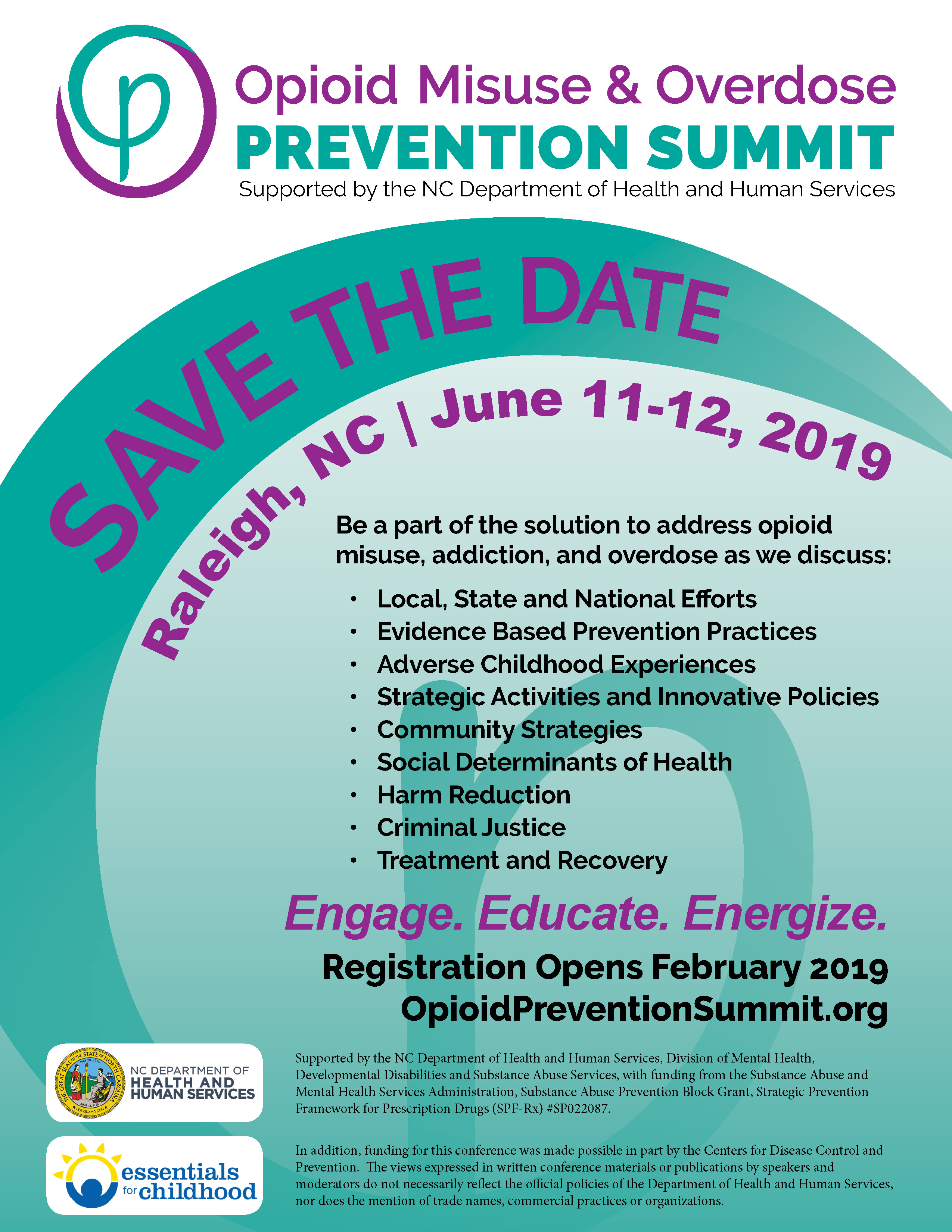 Opioid Summit 2019 | Save The Date: June 11-12, 2019